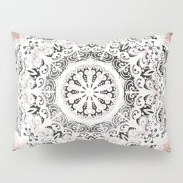 Dreamer Mandala White On Rose Gold Pillow Sham