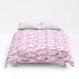 Running Watercolor Horses Pattern - Pink Comforters