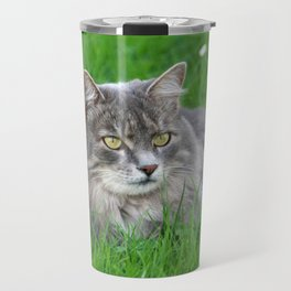 Persian cat in the grass Travel Mug
