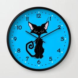 Black Cat - Cool Blue Wall Clock