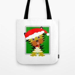 Christmas Yorkshire Terrier Cartoon Tote Bag