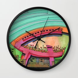 City Sky Cave Architectural Illustration 70 Wall Clock