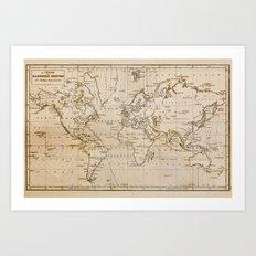 World Map 1844 Art Print