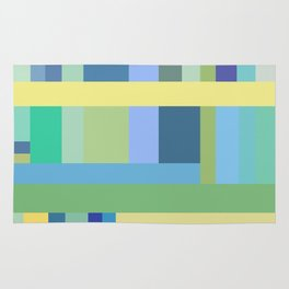 Abstract Blue Mint Green Geometry Rug