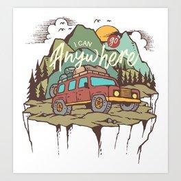 Mountains Road Trip Outdoor Camping SUV Adventure T-Shirt - Design Illustration Print Artwork Gift Art Print