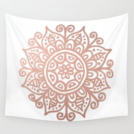 Rose Gold Floral Mandala Wall Tapestry