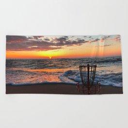 Disc Golf Basket Sunset Virginia Beach Chesapeake Innova Discraft Ocean Waves Beach Towel
