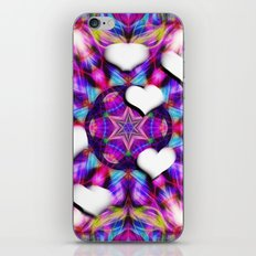 Floating hearts on abstract vibrant kaleidoscope iPhone Skin