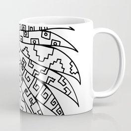 Aztec Feathered Headdress Drawing Black and White Coffee Mug