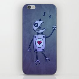 Happy Cartoon Singing Robot iPhone Skin