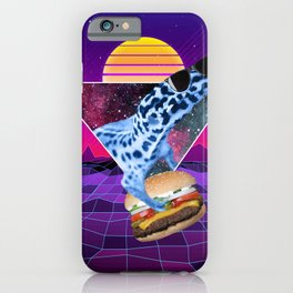 Aesthetic Synthwave Leopard Gecko Burger iPhone Case