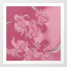 Pink Fractal Flowers Art Print