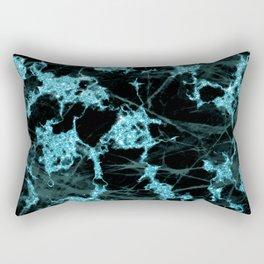 Aqua Glitter and Black Marble Design Pattern Rectangular Pillow