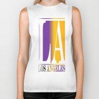 los angeles Biker Tanks featuring LOS ANGELES  by Robleedesigns