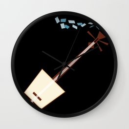 While My Shamisen Gently Weeps Wall Clock