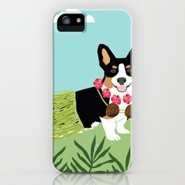Tri Corgi Hula Dog Summer Tropical Palm Print Palm Tree Dog iPhone Case
