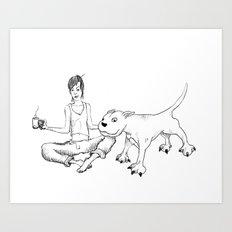 A Girl & Her Dog Art Print