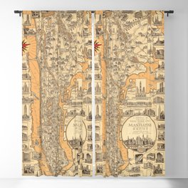 1939 Vintage Pictorial Map of Manhattan, New York Blackout Curtain