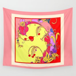 Red Hearts Gold Color Fantasy Scrolls & Flowers Ferns Art Pattern Wall Tapestry