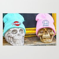 hats Area & Throw Rugs featuring Skulls and Hats  by Premium