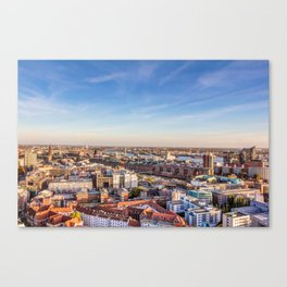 Aerial view of Hamburg with Speicherstadt and Elbphilharmonie Canvas Print