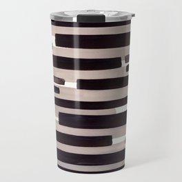 Grey Primitive Stripes Mid Century Modern Minimalist Watercolor Gouache Painting Colorful Stripes Travel Mug
