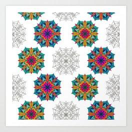 Mandala 4.2.1 Half Drop Pattern Art Print