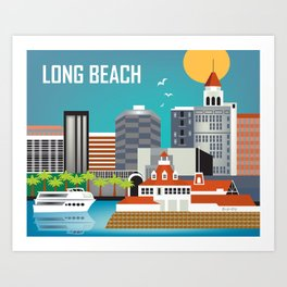 Long Beach, California - Skyline Illustration by Loose Petals Art Print