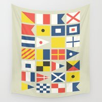 flag Wall Tapestries featuring Geometric Nautical flag and pennant by Picomodi