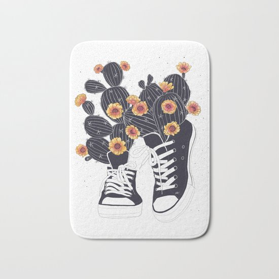 Sneakers with cactus Bath Mat