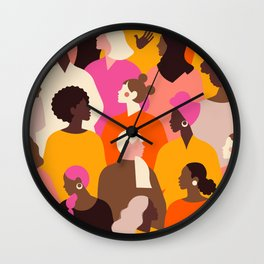 Female diverse faces pink Wall Clock