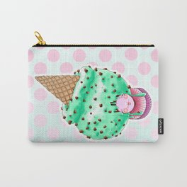 Doll faced Minty chocolate chip ice cream cone Carry-All Pouch