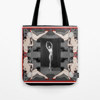 nudes Tote Bags featuring pin up 2/vintage nudes by Kathead Tarot/David Rivera