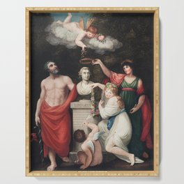 Flora, Aesculapius, Ceres, with Cupid, Honoring the Bust of Linnaeus from The Temple of Flora (1807) Serving Tray