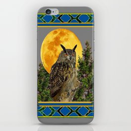 WILDERNESS OWL WITH FULL MOON PINE TREES iPhone Skin