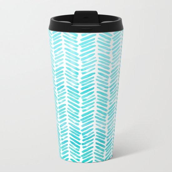 Handpainted Chevron pattern-small-light green and aqua Metal Travel Mug