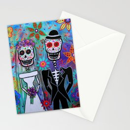 Dia de los Muertos Wedding Couple Painting Stationery Cards