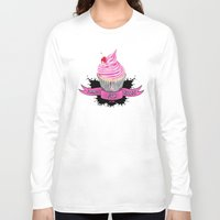 bands Long Sleeve T-shirts featuring Bands for Boobs Cupcake Logo by Bands for Boobs