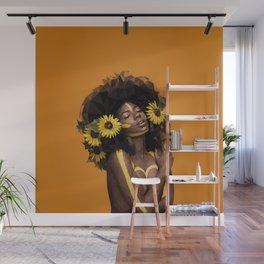 Sunflower Woman Wall Mural
