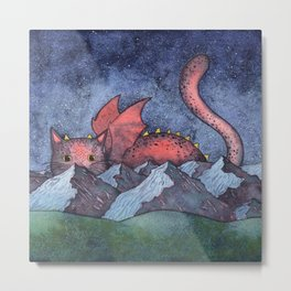 Dragon Cat Watercolor Metal Print