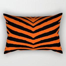 Orange Neon and Black Zebra Stripe Rectangular Pillow