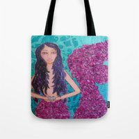 fitzgerald Tote Bags featuring Cordelia Fitzgerald the Mermaid by inara77