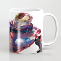 iron man Mugs featuring Iron man by Gary Reddin