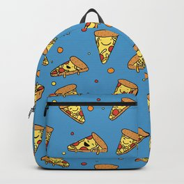 Cute Happy Smiling Pizza Pattern on blue background Backpack