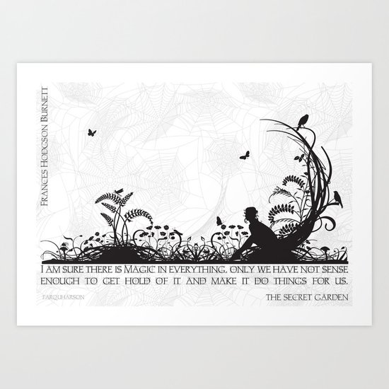 Secret Garden Black and White Illustrated Quote Art Print