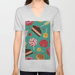Kitschy and Colorful Candy Pattern on Aqua Unisex V-Neck
