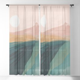 pink, green, gold moon watercolor mountains Sheer Curtain