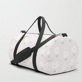 Hand painted blush pink white floral polka dots illustration Duffle Bag