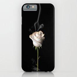 White Burning Rose iPhone Case