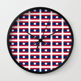 flag of Laos -Muang Lao,ເມືອງລາວ ,laotien,lao,ventiane,Lan Xang Hom Khao Wall Clock